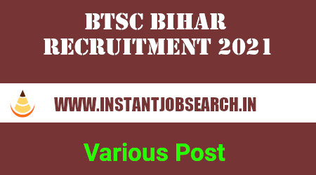 BTSC Bihar Recruitment 2021
